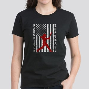 American Flag Distressed Fastpitch Softbal T-Shirt